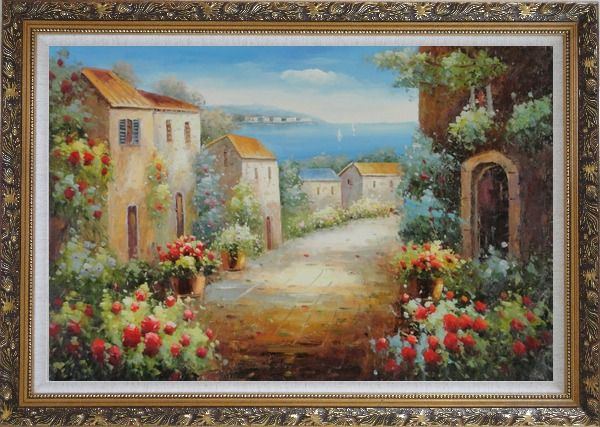 Framed Mediterranean Coastal Garden Oil Painting Classic Ornate Antique Dark Gold Wood Frame 30 x 42 Inches