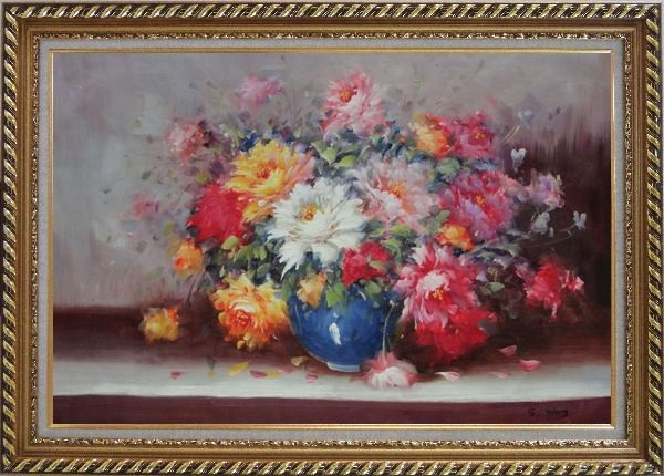 Framed Mixed Flower Bouquet in Blue Vase Oil Painting Still Life Naturalism Exquisite Gold Wood Frame 30 x 42 Inches