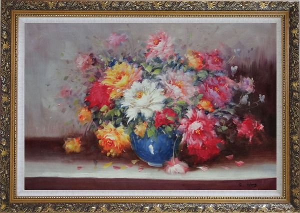 Framed Mixed Flower Bouquet in Blue Vase Oil Painting Still Life Naturalism Ornate Antique Dark Gold Wood Frame 30 x 42 Inches