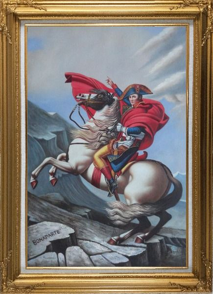 Framed Napoleon Crossing the Alps, Jacques-Louis David Oil Painting Portraits Classic Gold Wood Frame with Deco Corners 43 x 31 Inches