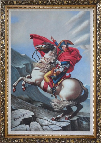 Framed Napoleon Crossing the Alps, Jacques-Louis David Oil Painting Portraits Classic Ornate Antique Dark Gold Wood Frame 42 x 30 Inches