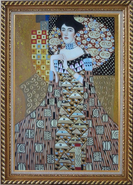 Framed Portrait Of Adele Bloch-Bauer, Gustav Klimt Replica Oil Painting Portraits Couple Modern Exquisite Gold Wood Frame 42 x 30 Inches