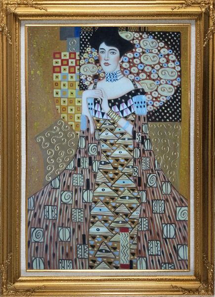 Framed Portrait Of Adele Bloch-Bauer, Gustav Klimt Replica Oil Painting Portraits Couple Modern Gold Wood Frame with Deco Corners 43 x 31 Inches