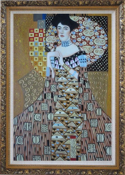 Framed Portrait Of Adele Bloch-Bauer, Gustav Klimt Replica Oil Painting Portraits Couple Modern Ornate Antique Dark Gold Wood Frame 42 x 30 Inches