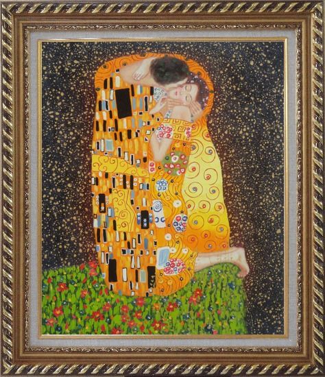 Framed The Kiss, Gustav Klimt Replica Oil Painting Portraits Couple Modern Exquisite Gold Wood Frame 30 x 26 Inches