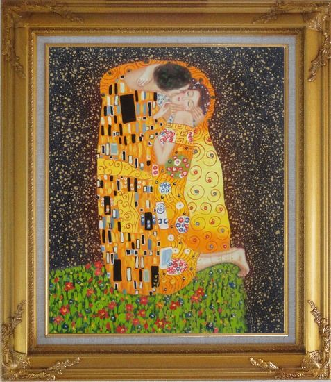 Framed The Kiss, Gustav Klimt Replica Oil Painting Portraits Couple Modern Gold Wood Frame with Deco Corners 31 x 27 Inches