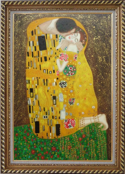 Framed The Kiss, Gustav Klimt Replica Oil Painting Portraits Couple Modern Exquisite Gold Wood Frame 42 x 30 Inches
