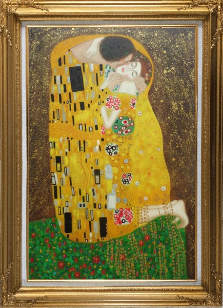 Framed The Kiss, Gustav Klimt Replica Oil Painting Portraits Couple Modern Gold Wood Frame with Deco Corners 43 x 31 Inches