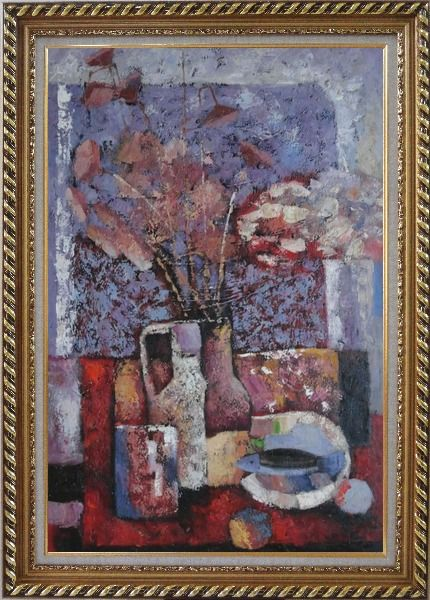 Framed Vase of Flowers, Cup, Plate, Fruit and Pot Oil Painting Still Life Bouquet Impressionism Exquisite Gold Wood Frame 42 x 30 Inches