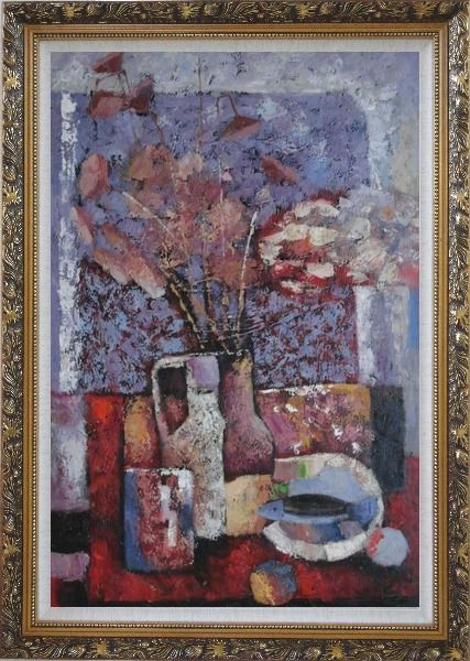 Framed Vase of Flowers, Cup, Plate, Fruit and Pot Oil Painting Still Life Bouquet Impressionism Ornate Antique Dark Gold Wood Frame 42 x 30 Inches