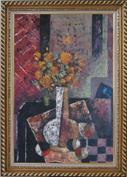 Framed Modern Still Life of Vase Flower and Objects Oil Painting Bouquet Impressionism Exquisite Gold Wood Frame 42 x 30 Inches