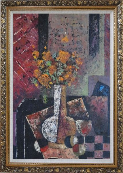 Framed Modern Still Life of Vase Flower and Objects Oil Painting Bouquet Impressionism Ornate Antique Dark Gold Wood Frame 42 x 30 Inches