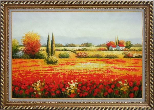 Framed Tuscan Beauty Oil Painting Landscape Field Italy Naturalism Exquisite Gold Wood Frame 30 x 42 Inches