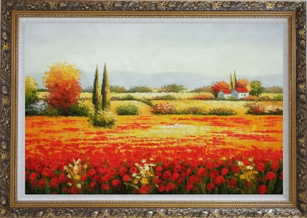 Framed Tuscan Beauty Oil Painting Landscape Field Italy Naturalism Ornate Antique Dark Gold Wood Frame 30 x 42 Inches