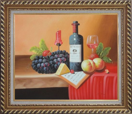 Framed Still Life of Wine Bottle, Glass of Red Wine, Grapes, and Peaches Oil Painting Fruit Classic Exquisite Gold Wood Frame 26 x 30 Inches