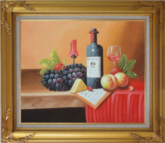Framed Still Life of Wine Bottle, Glass of Red Wine, Grapes, and Peaches Oil Painting Fruit Classic Gold Wood Frame with Deco Corners 27 x 31 Inches