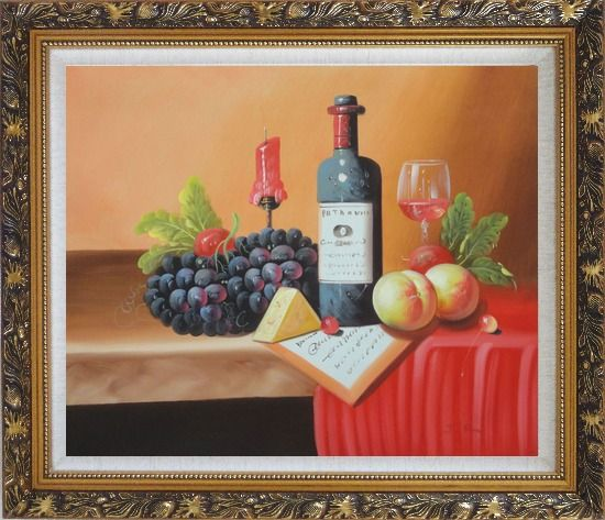 Framed Still Life of Wine Bottle, Glass of Red Wine, Grapes, and Peaches Oil Painting Fruit Classic Ornate Antique Dark Gold Wood Frame 26 x 30 Inches
