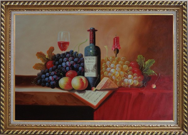Framed Still Life of Wine Bottle, Glass of Red Wine, Grapes, and Peaches Oil Painting Fruit Classic Exquisite Gold Wood Frame 30 x 42 Inches
