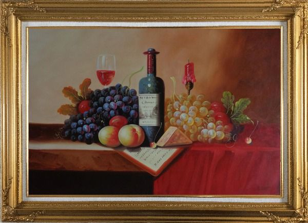 Framed Still Life of Wine Bottle, Glass of Red Wine, Grapes, and Peaches Oil Painting Fruit Classic Gold Wood Frame with Deco Corners 31 x 43 Inches