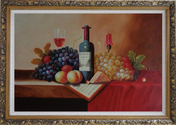 Framed Still Life of Wine Bottle, Glass of Red Wine, Grapes, and Peaches Oil Painting Fruit Classic Ornate Antique Dark Gold Wood Frame 30 x 42 Inches