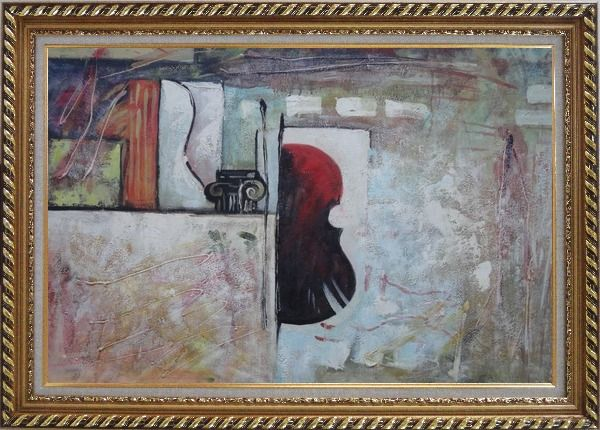 Framed Violin Behind a Wall Oil Painting Nonobjective Modern Exquisite Gold Wood Frame 30 x 42 Inches