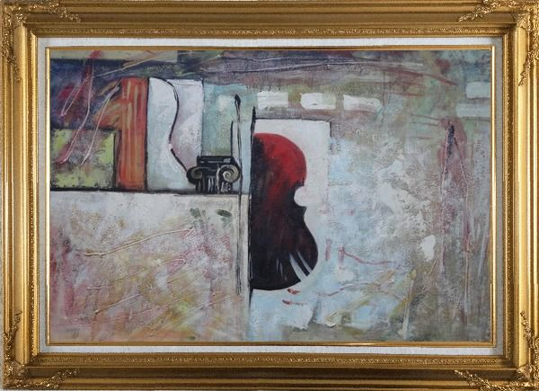 Framed Violin Behind a Wall Oil Painting Nonobjective Modern Gold Wood Frame with Deco Corners 31 x 43 Inches