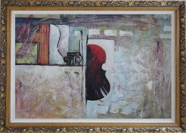 Framed Violin Behind a Wall Oil Painting Nonobjective Modern Ornate Antique Dark Gold Wood Frame 30 x 42 Inches