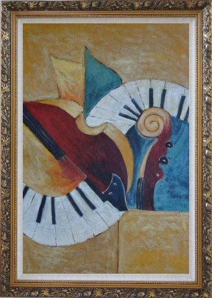 Framed Musical Instruments Oil Painting Still Life Modern Ornate Antique Dark Gold Wood Frame 42 x 30 Inches