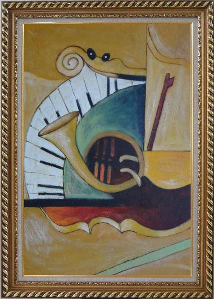 Framed Musical Keyboard And French Horn Oil Painting Still Life Modern Exquisite Gold Wood Frame 42 x 30 Inches