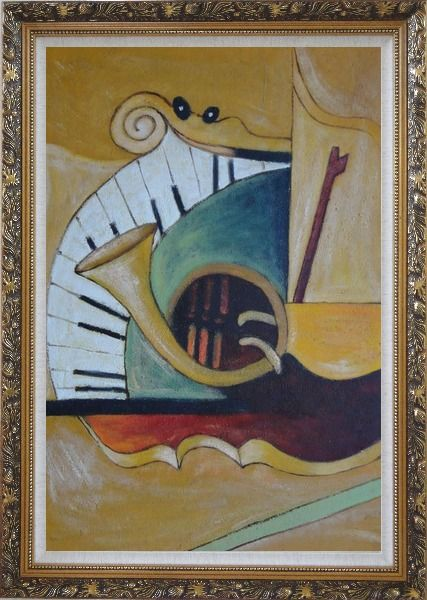 Framed Musical Keyboard And French Horn Oil Painting Still Life Modern Ornate Antique Dark Gold Wood Frame 42 x 30 Inches
