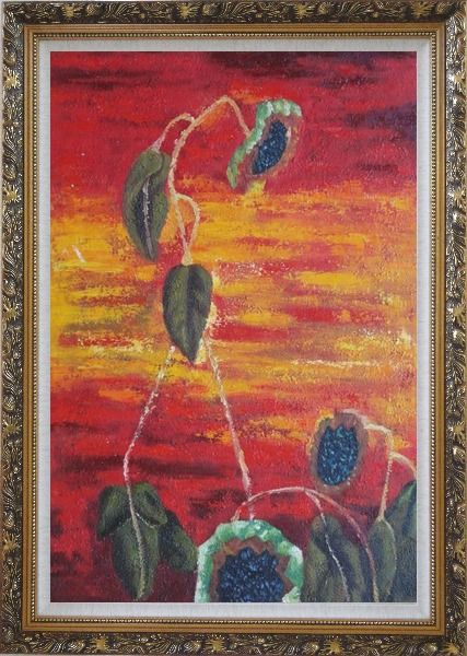 Framed Green Leaves in Red and Yellow Background Oil Painting Flower Modern Ornate Antique Dark Gold Wood Frame 42 x 30 Inches