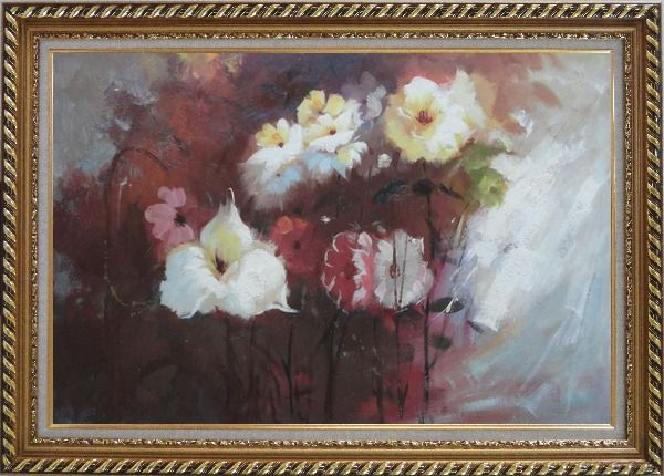 Framed Flowers in Genial Sunlight Oil Painting Impressionism Exquisite Gold Wood Frame 30 x 42 Inches