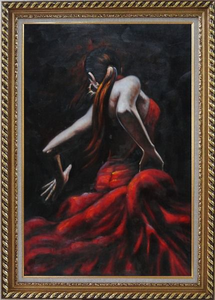 Framed Melody of Flamenco II Oil Painting Portraits Woman Dancer Impressionism Exquisite Gold Wood Frame 42 x 30 Inches