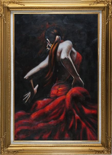 Framed Melody of Flamenco II Oil Painting Portraits Woman Dancer Impressionism Gold Wood Frame with Deco Corners 43 x 31 Inches
