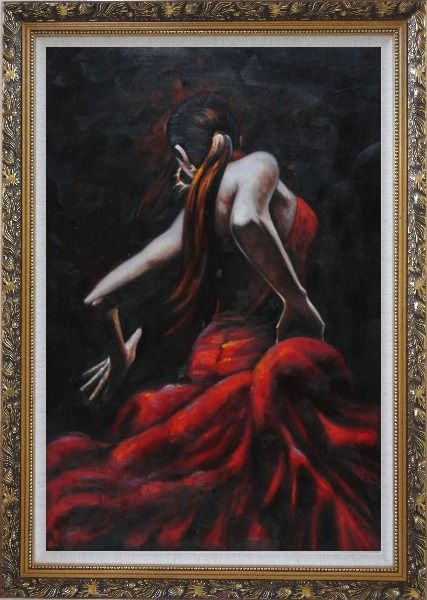 Framed Melody of Flamenco II Oil Painting Portraits Woman Dancer Impressionism Ornate Antique Dark Gold Wood Frame 42 x 30 Inches