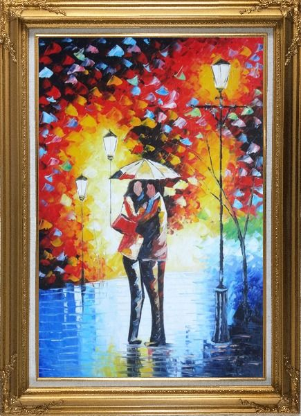 Framed Lovers Hug Under Umbrella On Rainy Day Street at Night Oil Painting Portraits Couple Modern Gold Wood Frame with Deco Corners 43 x 31 Inches
