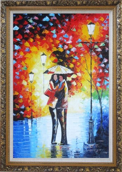 Framed Lovers Hug Under Umbrella On Rainy Day Street at Night Oil Painting Portraits Couple Modern Ornate Antique Dark Gold Wood Frame 42 x 30 Inches