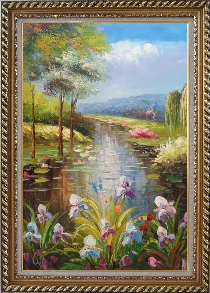 Framed Flowers and Pond with Water Waterlily Oil Painting Impressionism Exquisite Gold Wood Frame 42 x 30 Inches