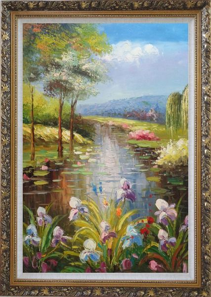 Framed Flowers and Pond with Water Waterlily Oil Painting Impressionism Ornate Antique Dark Gold Wood Frame 42 x 30 Inches
