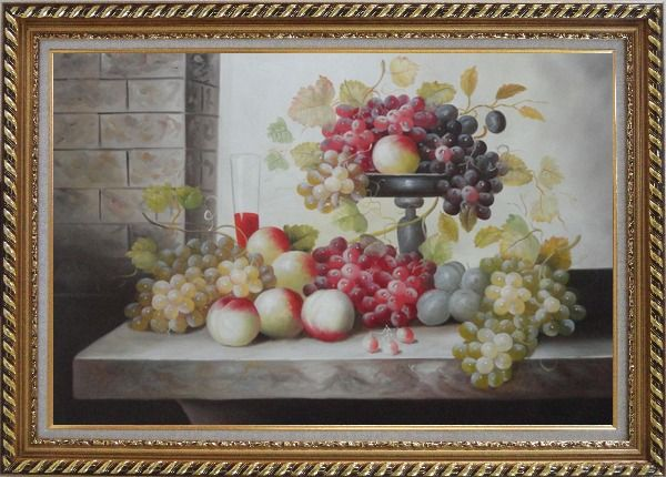 Framed Still Life of Glass of Red Wine with Grapes and Peaches Oil Painting Fruit Classic Exquisite Gold Wood Frame 30 x 42 Inches