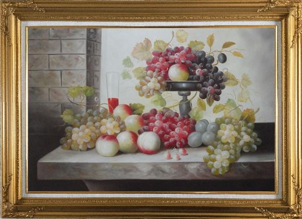 Framed Still Life of Glass of Red Wine with Grapes and Peaches Oil Painting Fruit Classic Gold Wood Frame with Deco Corners 31 x 43 Inches