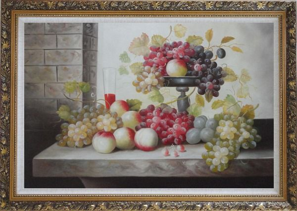 Framed Still Life of Glass of Red Wine with Grapes and Peaches Oil Painting Fruit Classic Ornate Antique Dark Gold Wood Frame 30 x 42 Inches
