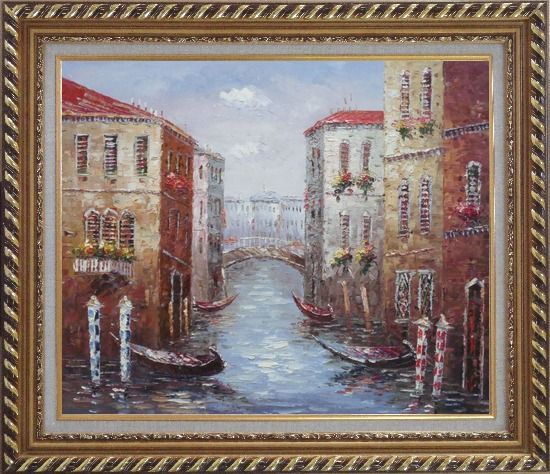 Framed Parking Boats and Small Bridge of Canal of Venice Oil Painting Italy Impressionism Exquisite Gold Wood Frame 26 x 30 Inches