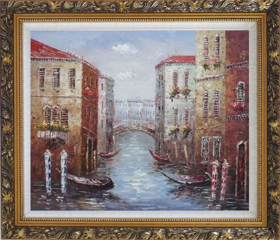 Framed Parking Boats and Small Bridge of Canal of Venice Oil Painting Italy Impressionism Ornate Antique Dark Gold Wood Frame 26 x 30 Inches
