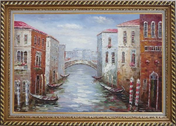 Framed Parking Boats and Small Bridge of Canal of Venice Oil Painting Italy Impressionism Exquisite Gold Wood Frame 30 x 42 Inches