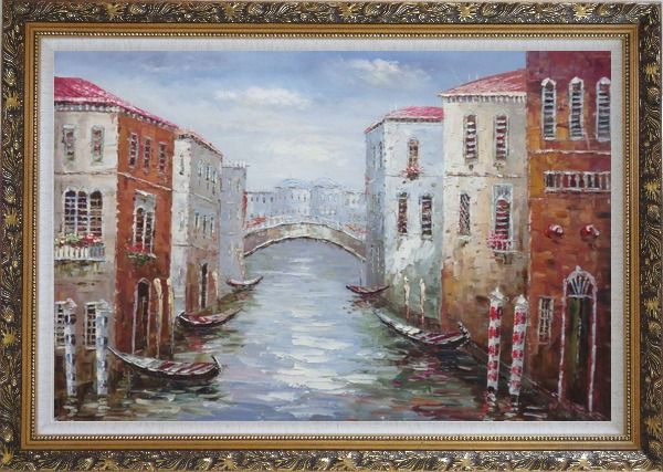 Framed Parking Boats and Small Bridge of Canal of Venice Oil Painting Italy Impressionism Ornate Antique Dark Gold Wood Frame 30 x 42 Inches