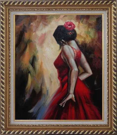 Framed Elegant Spanish Flamenco Dancer with Long Red Skirt Oil Painting Portraits Woman Impressionism Exquisite Gold Wood Frame 30 x 26 Inches
