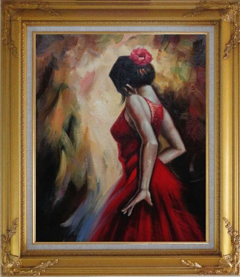 Framed Elegant Spanish Flamenco Dancer with Long Red Skirt Oil Painting Portraits Woman Impressionism Gold Wood Frame with Deco Corners 31 x 27 Inches
