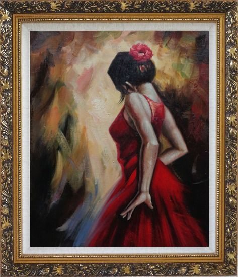 Framed Elegant Spanish Flamenco Dancer with Long Red Skirt Oil Painting Portraits Woman Impressionism Ornate Antique Dark Gold Wood Frame 30 x 26 Inches