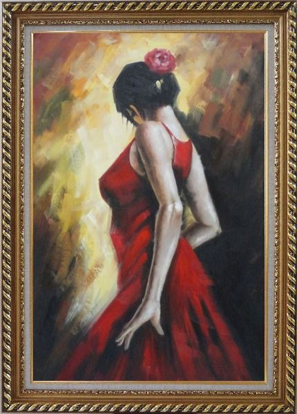 Framed Elegant Spanish Flamenco Dancer with Long Red Skirt Oil Painting Portraits Woman Impressionism Exquisite Gold Wood Frame 42 x 30 Inches